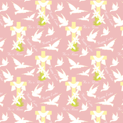 Happy Easter Doves Pink