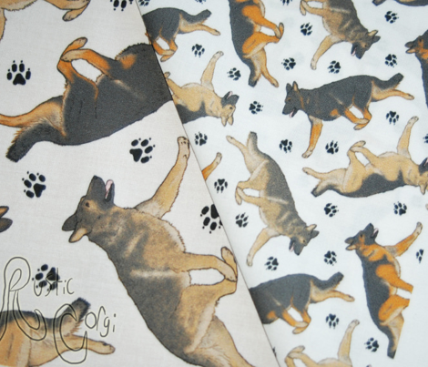 Trotting German Shepherd dogs and paw prints - tiny white