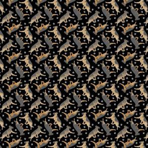 Trotting German Shepherd dogs and paw prints - tiny black