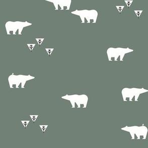 Polar bears - white on smokey green