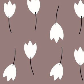 Flowers - white tulips on mauve    by sunny afternoon