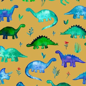 Tiny Dinos in Blue and Green on Mustard Large Print