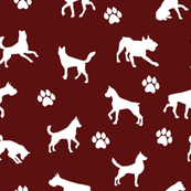 Dogs n Paws on Maroon