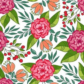 Tropical blooms  // Hot pink and green shades
