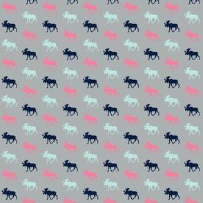 (micro print) multi moose pink
