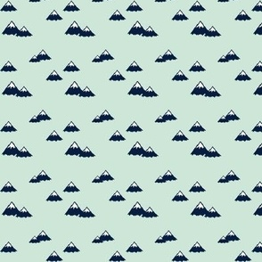 (micro print) mountains (navy on mint) || northern lights collection