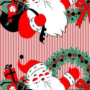 Santa Claus Merry Christmas candy canes sweets gifts presents dolls toys drums balls mistletoe wreaths ribbons stripes bows vintage retro