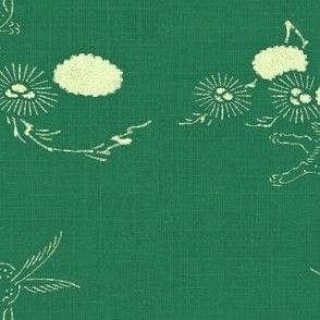 woodland hare - green, cream