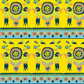 Yellow Folk Art