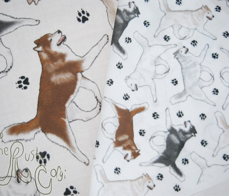 Trotting Siberian Husky and paw prints - tiny white