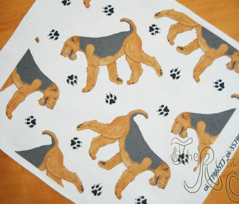 Trotting Airdale Terrier and paw prints - white