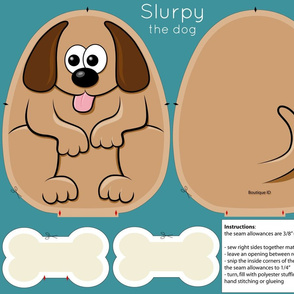 Cut and sew pillow - Slurpy the dog - 21x18