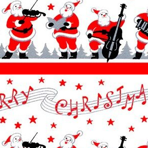 stars Santa Claus Merry Christmas singing carolling carols singing songs trumpets horns violins cello accordion lamps music trees musicians  concerts vintage retro kitsch
