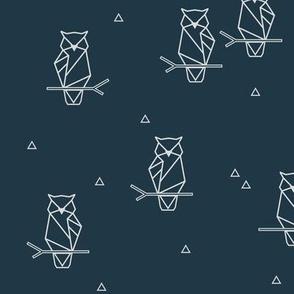Owls - geometric woodland night birds woods dark navy