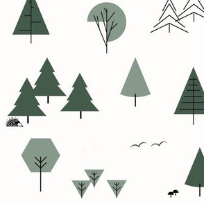 Trees, forrest, woods - green geometric || by sunny afternoon
