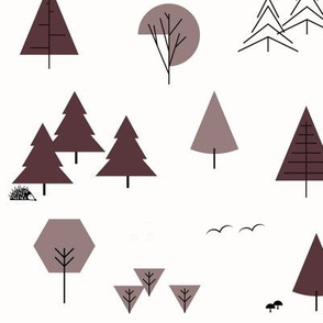 Forrest woods trees - mauve and red wine geometric || by sunny afternoon