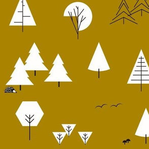 Trees - geometric garden forrest Christmas tree mustard gold || by sunny afternoon