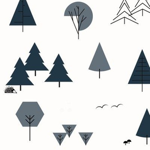 Trees - geometric garden navy and smokey blue woods forrest || by sunny afternoon