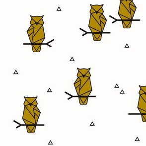 Owls - geometric birds woodland animals Forrest mustard yellow black and white || by sunny afternoon