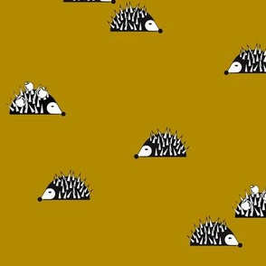 Hedgehog - mustard wood animals black and white forrest fall || by sunny afternoon
