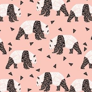 geo panda // pink girls sweet black and white bears cute panda bear fabric for girls nursery