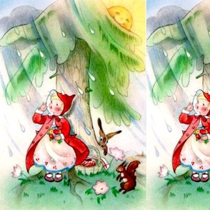 raining rain little red riding hood fairy tales trees sun girls children rabbits flowers squirrels  clouds vintage retro kitsch whimsical