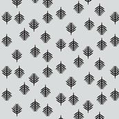 Ferns - small fern leaves monochrome black on grey