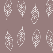 tree leaves - white on mauve    by sunny afternoon