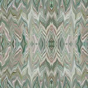 Dreamscape 1 Marbled Chevrons Reflected in Teal, Pink, Green and Mauve, large scale