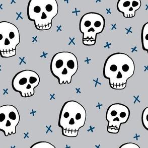 H alloween Skulls Grey