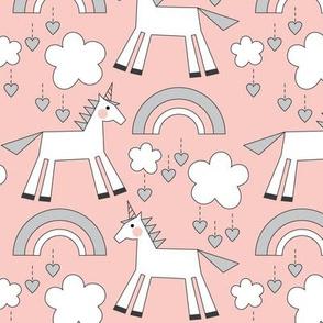 unicorns on soft pink