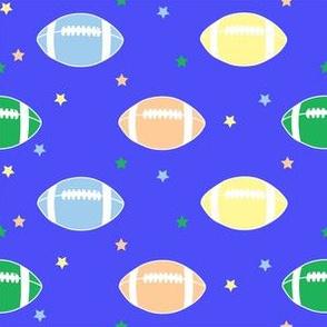 Footballs & Stars Blue