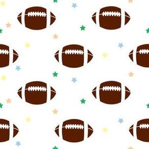 Footballs & Stars Brown