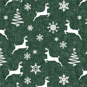 reindeer on forest green linen