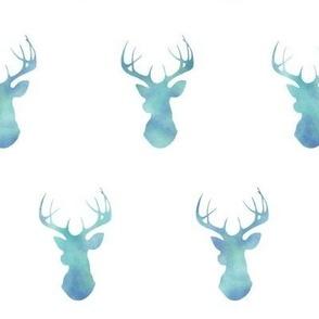 Watercolor Deer - Blue