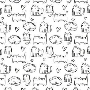 Cute Cats. Hand drawn  print