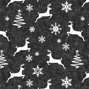 reindeer on dark grey linen