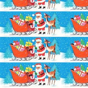 Merry Christmas Santa Claus snow winter trees deer sleigh gifts presents vintage retro kitsch reindeer