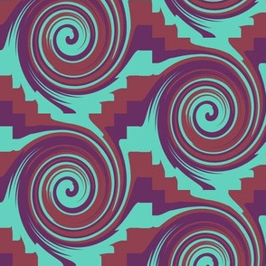 AW 4 Circles Rolling Downhill with  Zigzag Spacers, large  scale,  Turquoise, Maroon, Purple, Diagonal Effect created with  half drop repeat