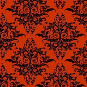Calvarium Damask Small - black on red