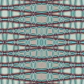 AW 4 -  Geometric Trellis Matrix in maroon mauve and teal, large  scale, horizontal