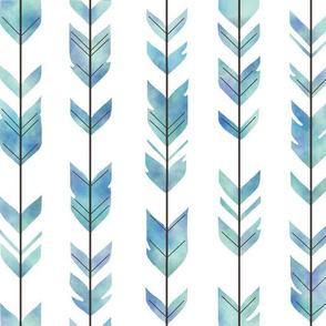 Watercolor Arrow Feather - Blue