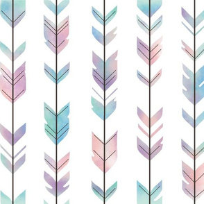 Watercolor Arrow Feather - multi pastel