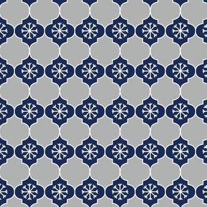 Navy Blue Snowflake Mosaic