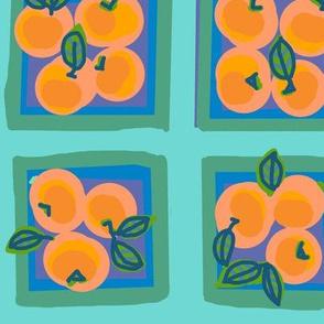 summer peach on dew green