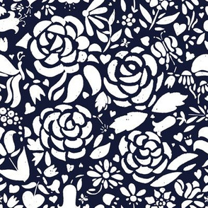 Navy and White Roses