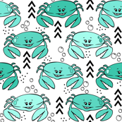 Crab outline // Mint and black