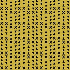 Triangles and X // Mustard background