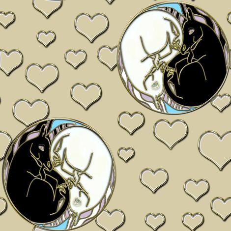 Unicorn Yin Yang with Love Hearts on Sand