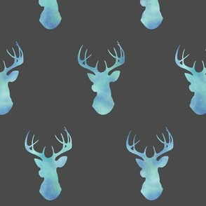 Watercolor Deer - blue/teal on dark gray - baby boy woodland